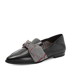 Tata/他她2018秋专柜同款黑/红黑格纹蝴蝶结尖头乐福鞋浅口女单鞋FPL01CQ8