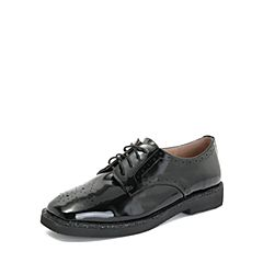 Tata/他她2018秋专柜同款黑色漆牛皮革雕花绑带方头女单鞋FFC25CM8