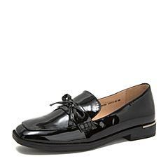 Tata/他她2018秋专柜同款黑色漆牛皮革蝴蝶结方头乐福鞋女单鞋FFC01CQ8