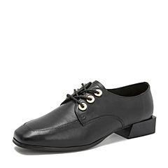 Tata/他她2018秋专柜同款黑色牛皮革通勤绑带方头女单鞋S3011CM8