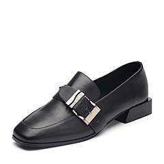 Tata/他她2018秋专柜同款黑色牛皮革饰扣方头乐福鞋浅口女鞋S3012CQ8