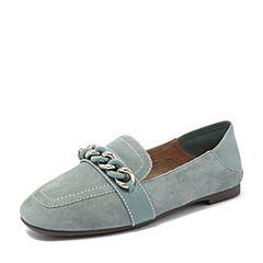 Tata/他她2018秋专柜同款绿色羊皮革绒面方头乐福鞋休闲女单鞋S3008CQ8