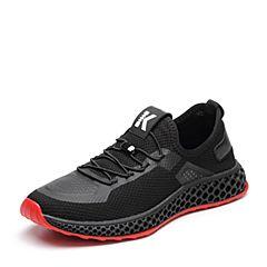 Tata/他她2018秋专柜同款黑色网布运动休闲鞋系带网眼男单鞋S3532CM8