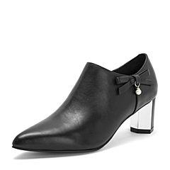 Tata/他她2018秋黑色牛皮革通勤蝴蝶结尖头六棱跟踝靴女短靴S3A26CD8