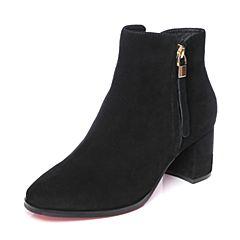 Tata/他她2018秋黑色羊皮革通勤简约踝靴高跟女短靴S3A19CD8