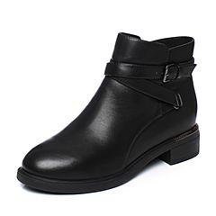 Tata/他她2018冬黑色牛皮革通勤时尚皮带扣方跟女短靴S3A48DD8