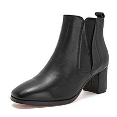 Tata/他她2018冬黑色牛皮革通勤方头套筒粗高跟踝靴女短靴S3A47DD8