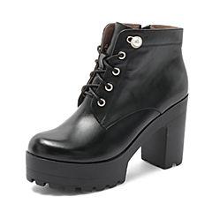 Tata/他她2018秋专柜同款黑色珍珠绑带粗高跟马丁靴踝靴女短靴2C1DACD8
