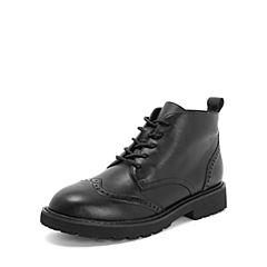 Tata/他她2018冬黑色牛皮革英伦雕花绑带马丁靴踝靴女短靴S3A49DD8