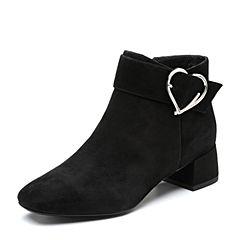 Tata/他她2018冬专柜同款黑色羊皮革心形扣通勤踝靴女短靴FGR41DD8