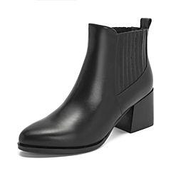 Tata/他她2018冬专柜同款黑色牛皮革尖头套筒粗高跟踝靴女短靴2I855DD8