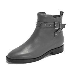 Tata/他她2018冬专柜同款灰色牛皮革条带方跟女短靴FOZ46DD8