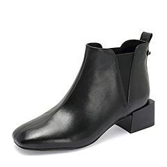 Tata/他她2018冬专柜同款黑色牛皮革方头套筒踝靴女短靴FGR43DD8
