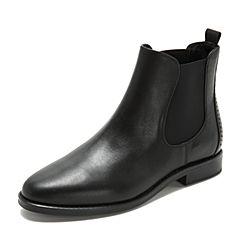 Tata/他她2018冬专柜同款黑色拼接通勤套筒方跟切尔西靴女短靴FJ041DD8