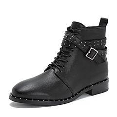 Tata/他她2018冬专柜同款黑色羊皮革皮带饰扣马丁靴休闲女短靴2GR40DD8