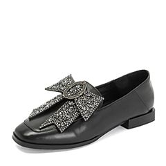 Tata/他她2018秋专柜同款黑色羊皮革复古蝴蝶结方头乐福鞋女单鞋S3A53CM8