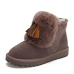 Tata/他她2018冬专柜同款紫色拼接流苏毛里休闲靴雪地靴女短靴BMF06DD8