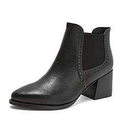 Tata/他她2018冬黑色羊皮革尖头粗高跟套筒休闲靴女短靴2I8DCDD8