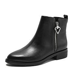 Tata/他她2018冬黑色牛皮革通勤心形扣方跟女短靴FDADADD8