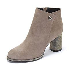 Tata/他她2018冬灰色羊皮革绒面通勤亮线布粗高跟踝靴女短靴DSK91DD8
