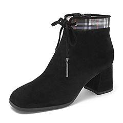 Tata/他她2018冬黑色羊皮革绒面水钻绑带方头踝靴粗高跟女短靴DSYL6DD8