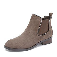 Tata/他她2018冬专柜同款灰色羊皮革绒面串珠套筒通勤踝靴女短靴DS140DD8