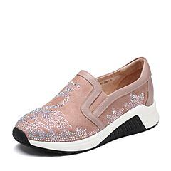 Tata/他她2018秋专柜同款粉色拼接水钻天鹅厚底运动休闲女单鞋CGF01CM8