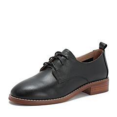 Tata/他她2018秋专柜同款黑色牛皮革英伦绑带方跟女单鞋CUF01CM8