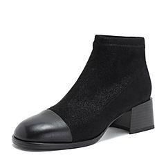Tata/他她2018冬专柜同款黑色拼接套筒休闲女短靴CXF02DD8