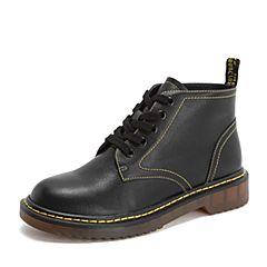 Tata/他她2018冬专柜同款黑色牛皮革休闲马丁靴踝靴女短靴EKF01DD8