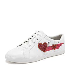 Tata/他她2019春专柜同款白色牛皮革水钻亮片小白鞋板鞋休闲女鞋FOF25AM9