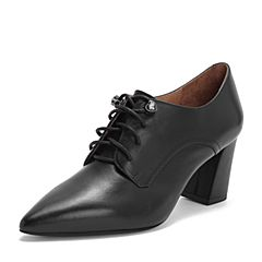 Tata/他她2019春专柜同款黑色牛皮革尖头水钻绑带高跟女单鞋FB729AM9
