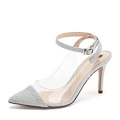 Tata/他她2019春专柜同款银/白亮片PU胶片一字带尖头高跟女凉鞋FWZ09AH9