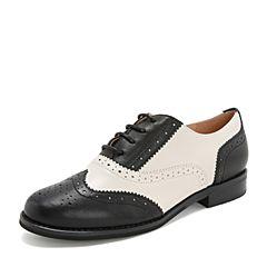 Tata/他她2019春专柜同款黑/米羊皮革英伦绑带牛津鞋拼色女单鞋FJ031AM9