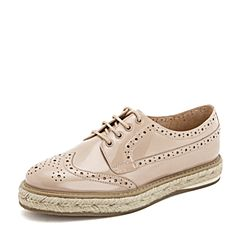 Tata/他她2019春专柜同款浅粉漆牛皮革雕花绑带英伦女单鞋FD020AM9