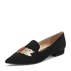 Tata/他她2019春专柜同款黑色羊皮革尖头乐福鞋鸳鸯鞋女单鞋FEY21AM9