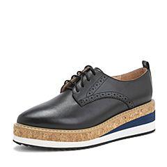 Tata/他她2019春专柜同款黑色牛皮革英伦雕花拼色坡跟女鞋FG527AM9