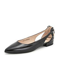 Tata/他她2019春专柜同款黑色漆牛皮革尖头鞋蝴蝶结浅口女鞋FV5A9AQ9