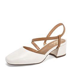 Tata/他她2019春专柜同款米/棕牛皮革一字带方头粗跟后空女凉鞋FEF02AH9
