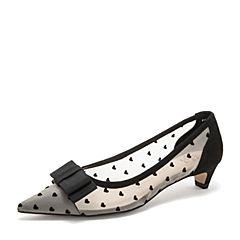 Tata/他她2019春专柜同款黑色拼接网布?#30007;?#34676;蝶结尖头猫跟女鞋FKA07AQ9