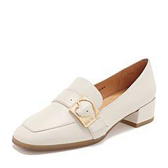 Tata/他她2019春专柜同款米色羊皮革通勤方头乐福鞋女单鞋2EY22AM9