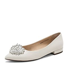 Tata/他她2019春专柜同款米色羊皮革水钻尖头方跟浅口女鞋FV5A8AQ9
