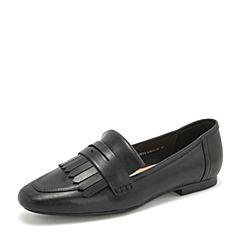 Tata/他她2019春专柜同款黑色羊皮革流苏方头乐福鞋女单鞋FOV23AM9
