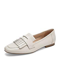 Tata/他她2019春专柜同款米色羊皮革流苏方头乐福鞋女单鞋FOV23AM9