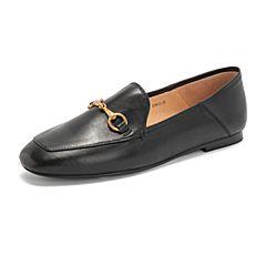 Tata/他她2019春专柜同款黑色羊皮革方头乐福鞋休闲女鞋FLC22AM9