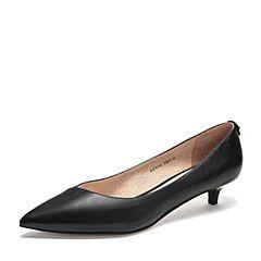 Tata/他她2019春专柜同款黑色牛皮革尖头猫跟鞋浅口女鞋FCY06AQ9