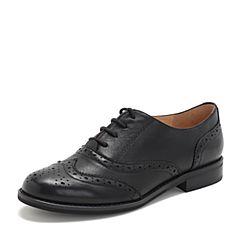 Tata/他她2019春专柜同款黑色羊皮革绑带雕花牛津鞋女单鞋FJ021AM9