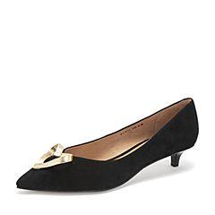 Tata/他她2019春专柜同款黑色羊皮革?#30007;?#25187;尖头猫跟浅口女鞋FCY01AQ9