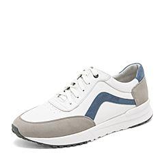 Tata/他她2019春专柜同款白/灰/兰牛皮革小白鞋拼色板鞋男休闲鞋27F21AM9