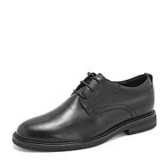 Tata/他她2019春专柜同款黑色牛皮革德比鞋商务鞋绑带男皮鞋27U20AM9